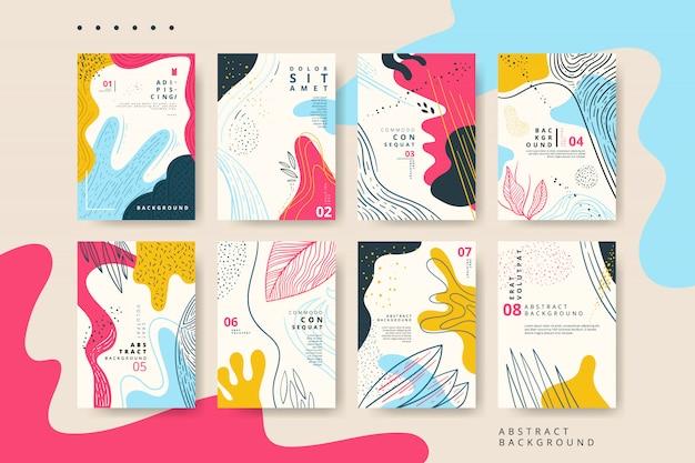 Conjunto de tarjeta universal abstracta con textura dibujado a mano