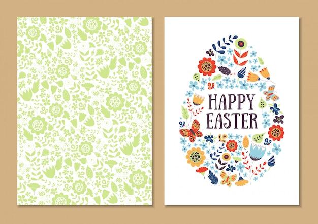 Conjunto de tarjeta de vacaciones de primavera pascua