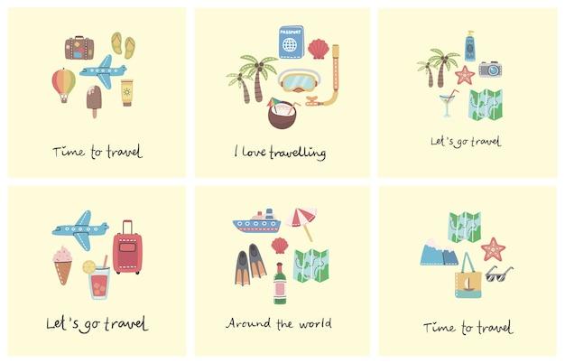 Conjunto de tarjeta de vacaciones