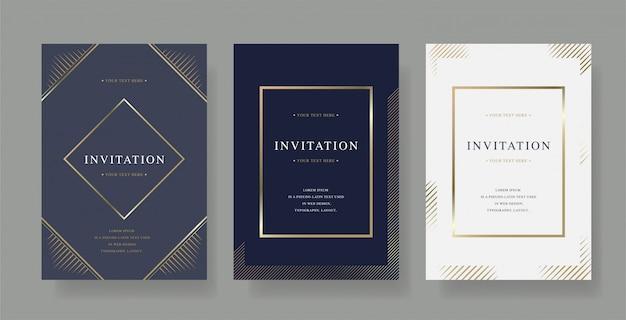 Conjunto de tarjeta de vector de invitación de lujo vintage