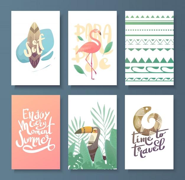 Conjunto de tarjeta de verano brillante.
