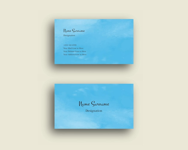 Conjunto de tarjeta de visita con acuarela abstracta