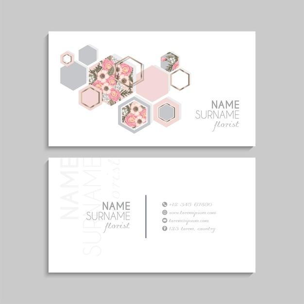 Conjunto de tarjeta de visita floral.