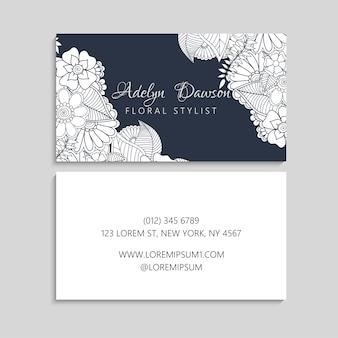 Conjunto de tarjeta de visita con flores dibujadas a mano zentangle