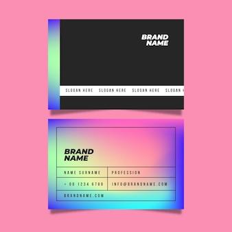 Conjunto de tarjeta de visita de gradiente de neón
