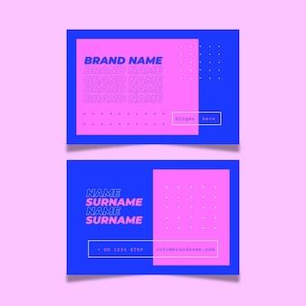 Conjunto de tarjeta de visita neón duochrome