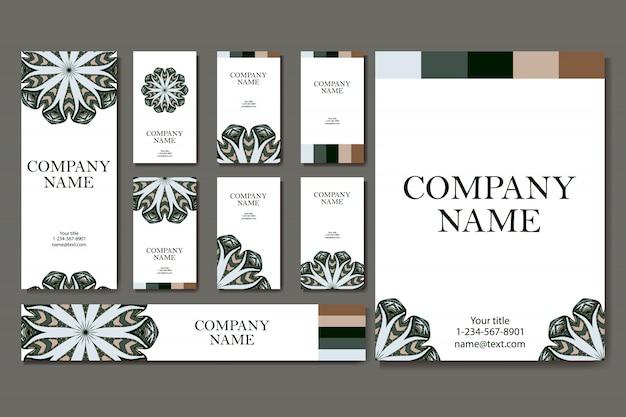 Conjunto de tarjeta de visita. plantilla de tarjetas con mandala.