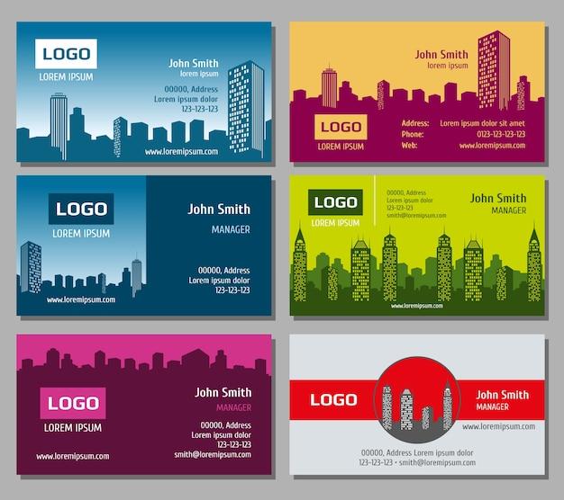 Conjunto de tarjeta de visita de vector de bienes inmuebles