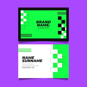 Conjunto de tarjeta de visita verde neón