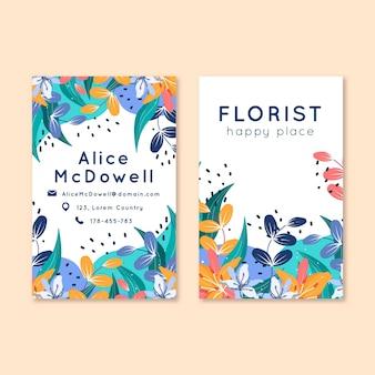 Conjunto de tarjeta de visita vertical floral