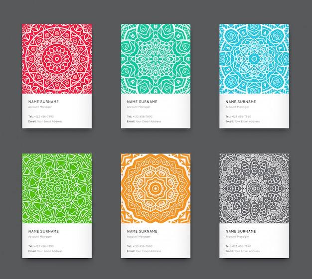 Conjunto de tarjeta de visita vertical de moda brillante