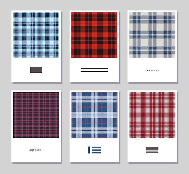 Conjunto de tarjetas abstractas artísticas con patrones de colores de tartán