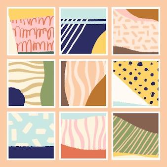 Conjunto de tarjetas abstractas coloridas dibujadas a mano