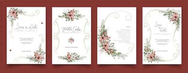 Conjunto de tarjetas de acuarela pintura floral.