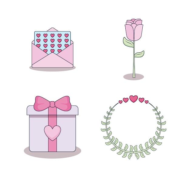 Conjunto de tarjetas de amor iconos