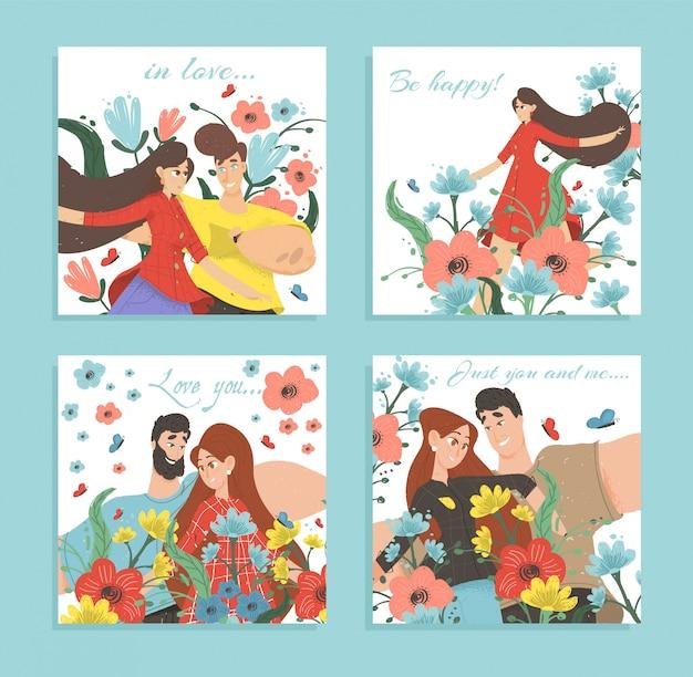 Conjunto de tarjetas de amor o pancartas románticas pareja feliz