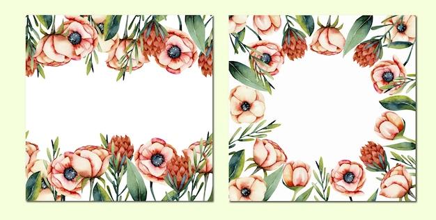 Conjunto de tarjetas de anémona de coral acuarela y bordes de flores protea, pintado a mano sobre un fondo blanco.