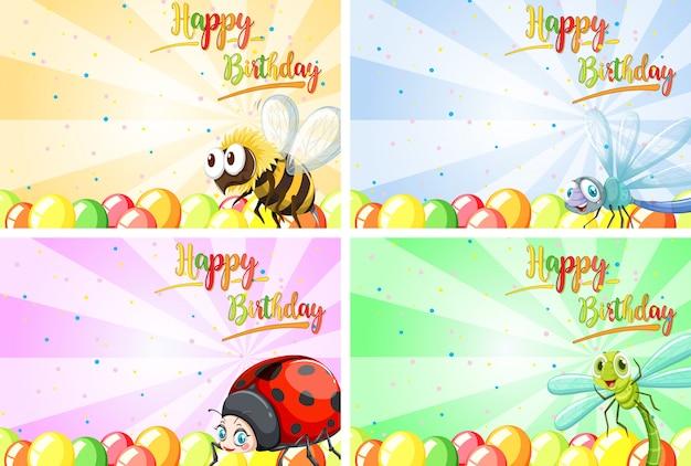 Conjunto de tarjetas de animales de feliz cumpleaños.