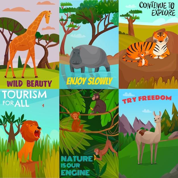 Conjunto de tarjetas de animales salvajes