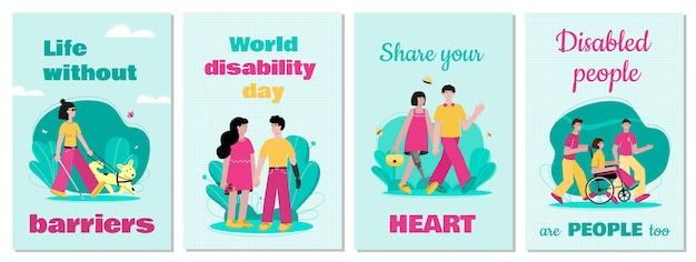 Conjunto de tarjetas de apoyo e inspiración para personas con discapacidad.