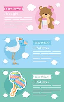 Conjunto de tarjetas de baby shower con decoración