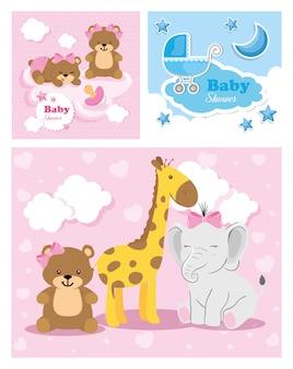 Conjunto de tarjetas de baby shower con linda decoración