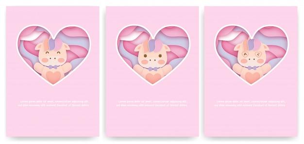 Conjunto de tarjetas de baby shower con lindo unicornio.