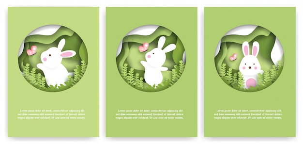 Conjunto de tarjetas de baby shower con lindos conejos en el bosque. estilo de corte de papel