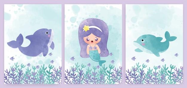Conjunto de tarjetas de baby shower y tarjetas de cumpleaños con sirena y delfines. estilo de color de agua.