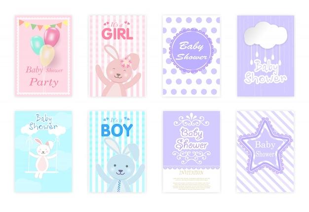 Conjunto de tarjetas de baby shower.