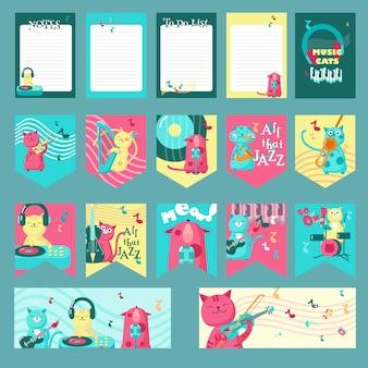 Conjunto de tarjetas, banderas de fiesta, hojas de bloc de notas con lindos gatos y citas inspiradoras sobre la música.
