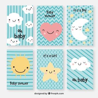 Conjunto de tarjetas de bebé con lindas caricaturas