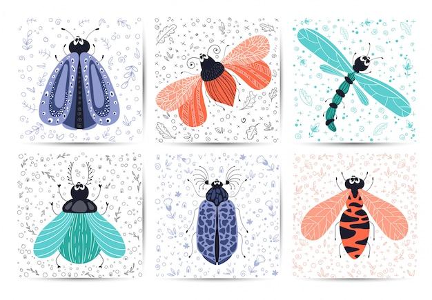 Conjunto de tarjetas - bicho o escarabajo de dibujos animados, mariposa, plana