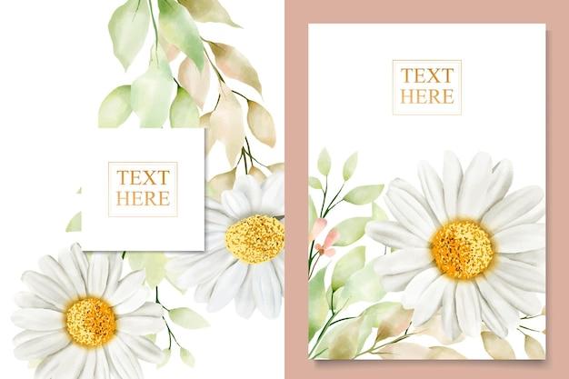 Conjunto de tarjetas de boda de crisantemo en acuarela