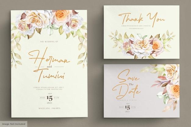 Conjunto de tarjetas de boda florales románticas dibujadas a mano