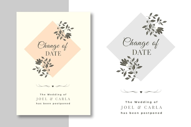 Conjunto de tarjetas de boda pospuestas dibujadas a mano