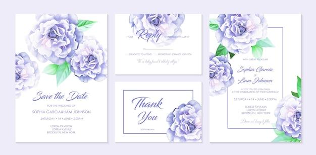 Conjunto de tarjetas de boda.
