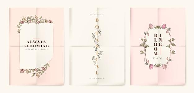 Conjunto de tarjetas botánicas florales.
