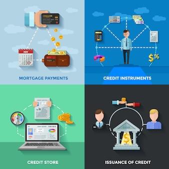 Conjunto de tarjetas de calificación crediticia