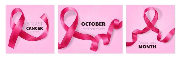 Conjunto de tarjetas de cáncer de mama