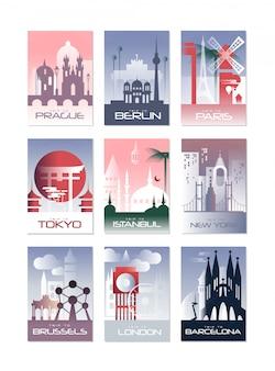 Conjunto de tarjetas de ciudad, plantilla de paisaje de volante, póster, portada de libro, pancarta, berlín, parís, tokio, estambul, bruselas, nueva york, londres, barcelona ilustraciones