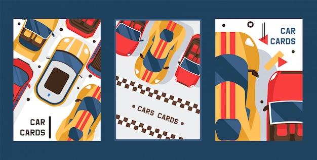 Conjunto de tarjetas de coche. vehículo, transporte, transporte, traslado. concepto de tráfico urbano, parking exterior, servicios de transporte urbano.