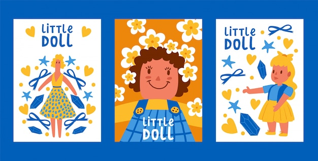 Conjunto de tarjetas de colección little dolls toy en vestido de verano con lazos, estrellas, piedras, flores. juguetes infantiles para bebés con accesorios femeninos.