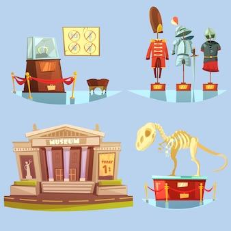 Conjunto de tarjetas coloridas del museo de dibujos animados