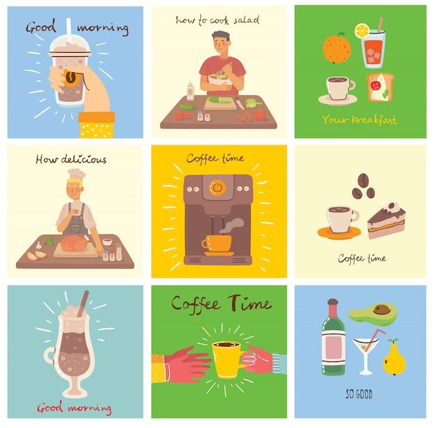 Conjunto de tarjetas de comida y bebida con texto escrito a mano, simple ilustración colorida plana en el diseño plano