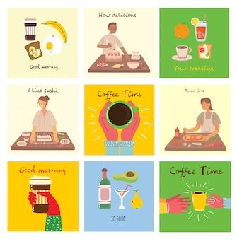 Conjunto de tarjetas con comida, café, desayuno, pizza, sushi, pastel y con texto escrito a mano, simple ilustración colorida plana