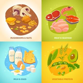 Conjunto de tarjetas de concepto de alimentos de proteínas