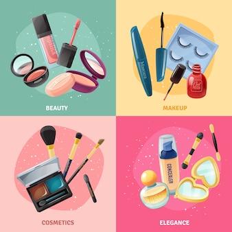 Conjunto de tarjetas de concepto de maquillaje de cosméticos