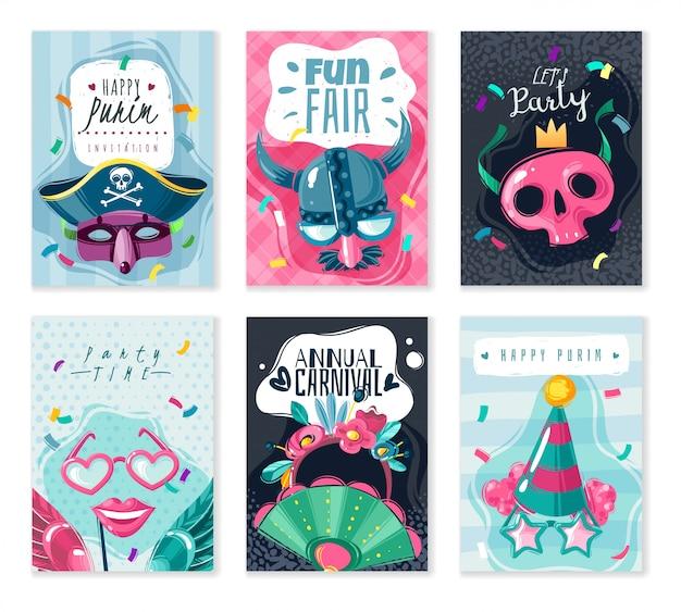 Conjunto de tarjetas de cosas de carnaval. conjunto de seis carteles de tarjetas sobre el tema del carnaval con sombras sobre fondo blanco con máscaras de disfraces y vacaciones