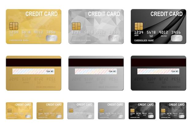 Conjunto de tarjetas de crédito metálicas